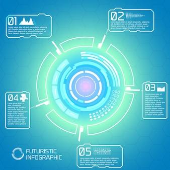 Fondo de tecnología interactiva moderna con elementos de infografía futurista diseño de pantalla táctil virtual de círculo colorido