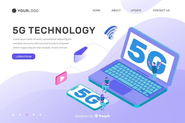 Fondo de tecnología isométrica 5g