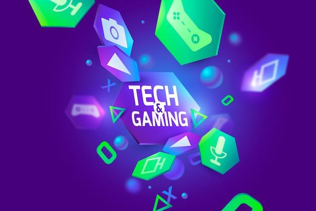 Fondo de tecnología y juegos en 3d