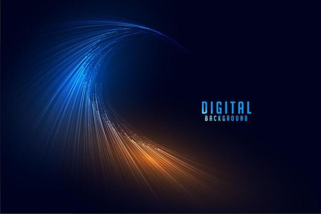 Fondo de tecnología de líneas de partículas digitales que fluyen