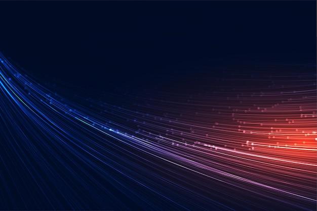 Fondo de tecnología de líneas de velocidad que fluye