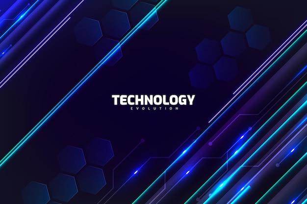 Fondo de tecnología con luces de neón.