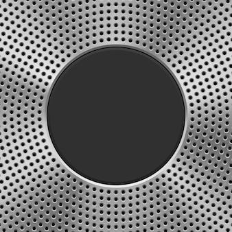 Fondo de tecnología de metal con patrón de círculo perforado.