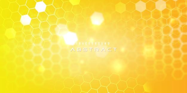 Fondo de tecnología moderna de hexágono amarillo