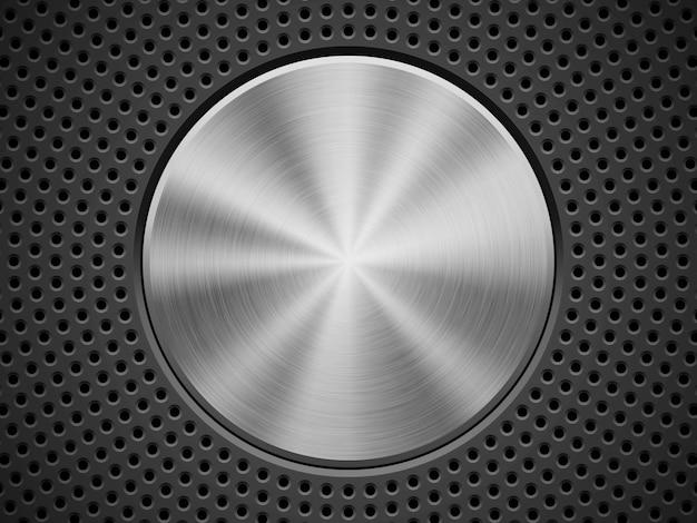 Fondo de tecnología negra con círculo perforado, biseles y metal con textura pulida circular.