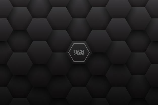 Fondo de tecnología negra minimalista de hexágonos