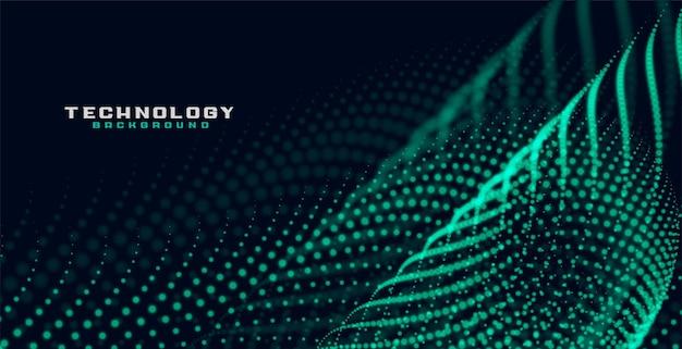 Fondo de tecnología de onda de malla de partículas verdes
