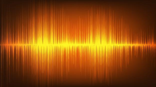 Fondo de tecnología de onda de sonido digital naranja