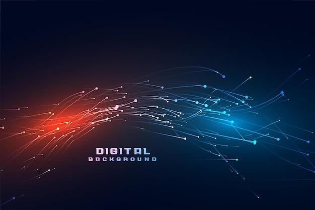 Fondo de tecnología de partículas que fluyen digitales