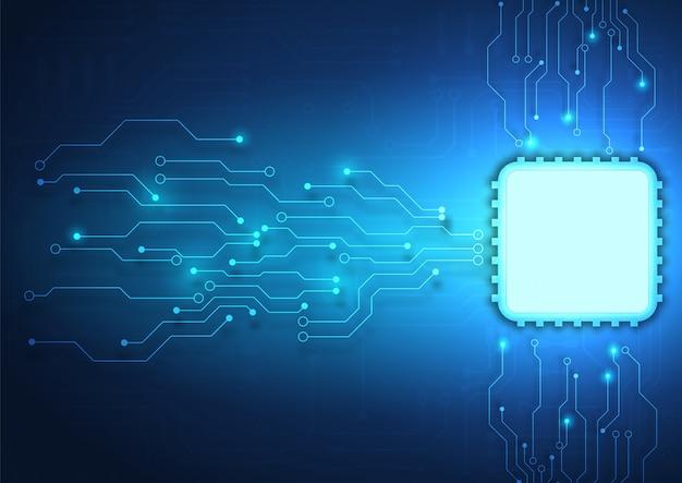 Fondo de tecnología de placa de circuito con sistema de conexión de datos digitales de alta tecnología