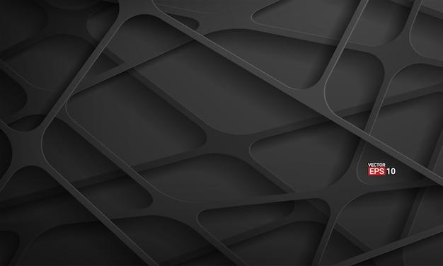 Fondo de tecnología de rayas negras abstractas