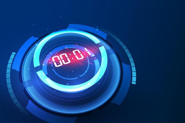 Fondo de tecnología con temporizador numérico digital y cuenta regresiva