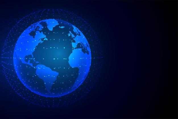 Fondo de tecnología tierra con conexión de red.