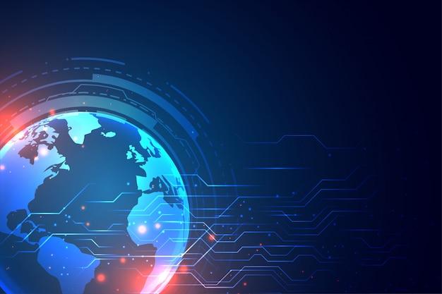 Fondo de tecnología con tierra y diagrama de circuito