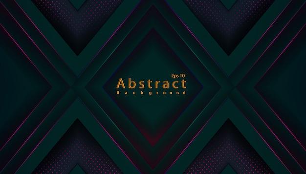 Fondo de tecnología verde oscuro abstracto de lujo con semitono de decoración de corte de papel
