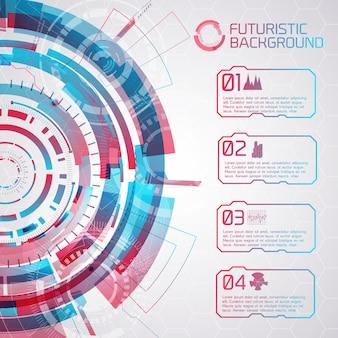 Fondo de tecnología virtual moderna con elementos redondos de interfaz táctil y cuatro botones aislados con subtítulos e iconos decorativos