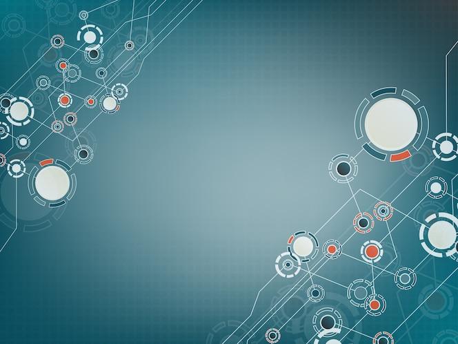 Fondo tecnológico abstracto con varios elementos de tecnología