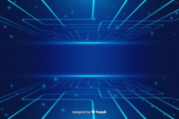 Fondo tecnológico azul abstracto