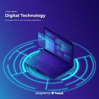 Fondo tecnológico degradado de ordenador portátil con vista isométrica