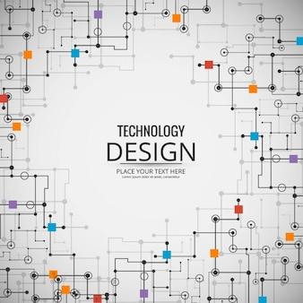 Fondo tecnológico con enlaces y cuadrados