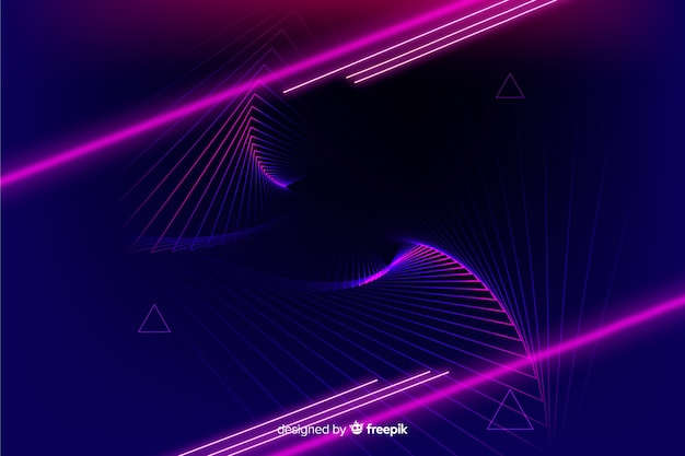 Fondo tecnológico geométrico con luces de neon