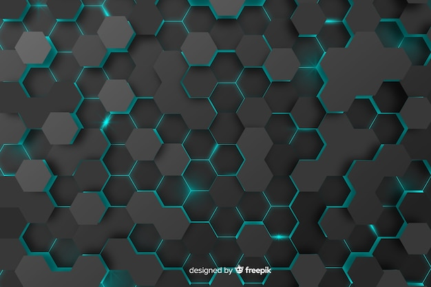 Fondo tecnológico de panal con hexágonos