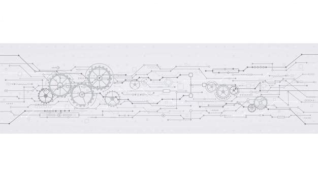 Fondo tecnológico con ruedas dentadas. tecnologías de la ingeniería de conceptos.