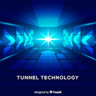 Fondo tecnológico túnel de luz azul