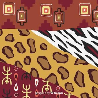 Fondo de telas africanas y piel de animales