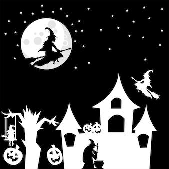 Fondo de tema de bruja para halloween