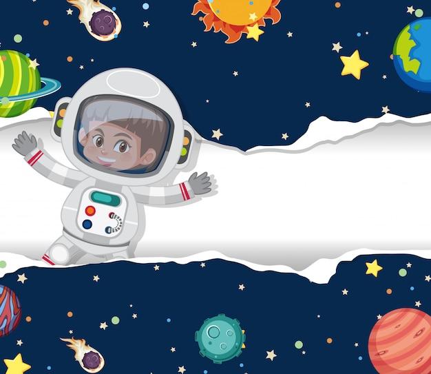 Fondo del tema espacial con astronauta volando en el espacio