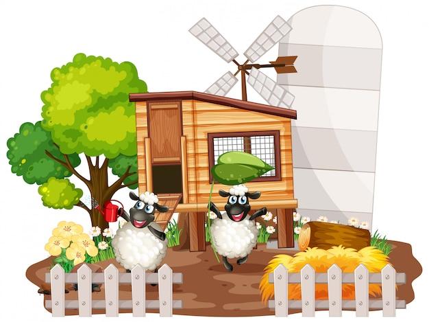 Fondo del tema de granja con animales de granja