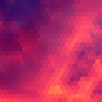 Fondo temático de la puesta del sol con rejilla hexagonal