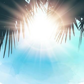 Fondo temático de verano acuarela con sol brillando a través de hojas de palmera