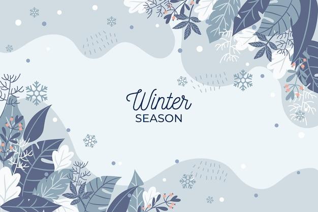 Fondo de temporada de invierno dibujado a mano