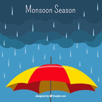 Fondo de temporada de monzón con paragua