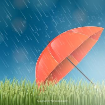 Fondo de temporada monzón con paraguas rojo