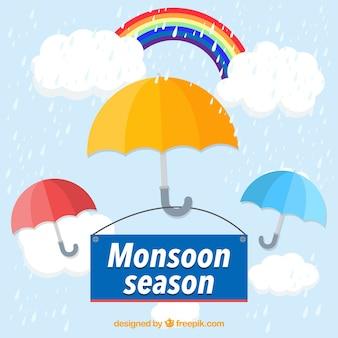 Fondo de temporada de monzón con paraguas