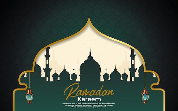 Fondo de temporada de ramadán kareem con lámparas colgantes