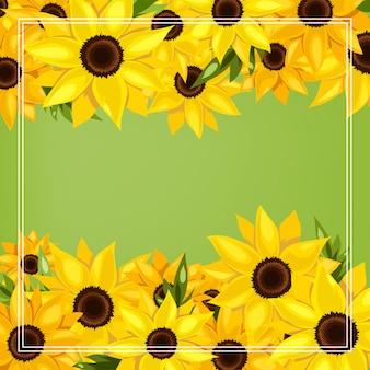 Fondo de temporada de verano con flores de girasol.