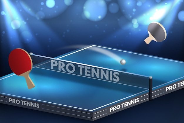Fondo de tenis de mesa realista con paletas