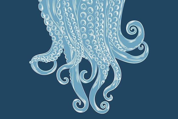 Fondo de tentáculos de pulpo dibujado a mano realista