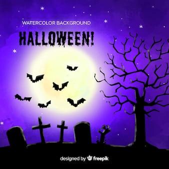 Fondo terrorífico de halloween dibujado a mano