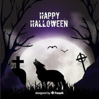 Fondo terrorífico de halloween con diseño plano