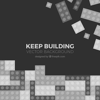 Fondo de tetris y piezas de construcción en blanco y negro