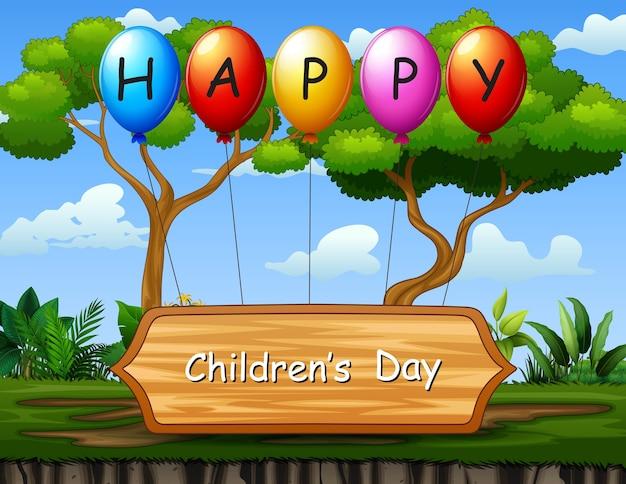 Fondo de texto del día del niño feliz con fondo de naturaleza