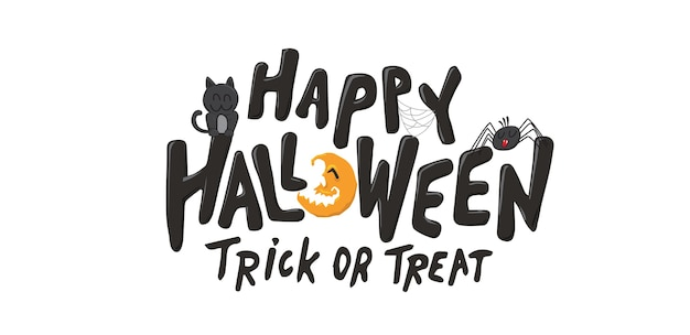 Fondo de texto de halloween feliz. truco o trato.