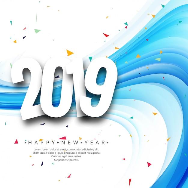 Fondo de texto hermoso feliz año nuevo 2019