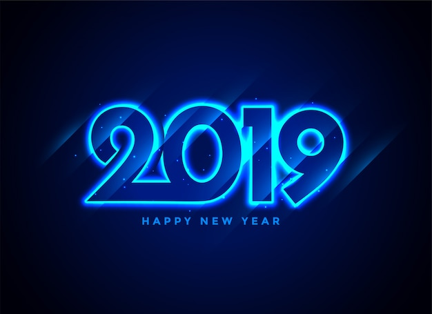 Fondo de texto de neón feliz año 2019