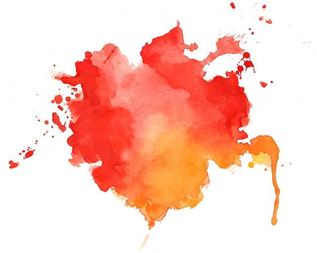 Fondo de textura acuarela abstracta rojo y naranja